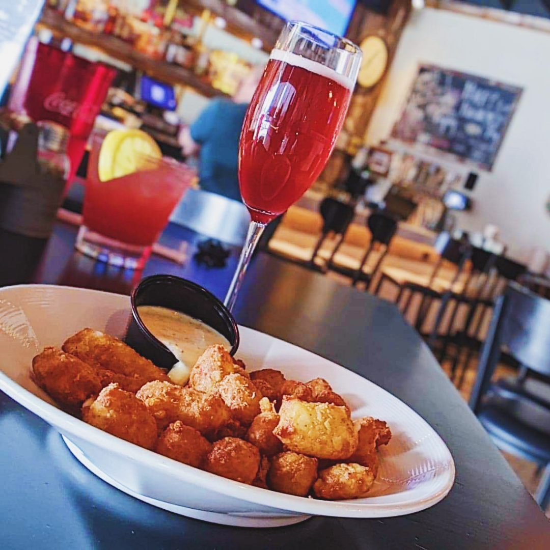Hibiscus Bellini Mimosa and Cheese Curds from Gabe's Wisconsin Kitchen and Tavern in Oshkosh