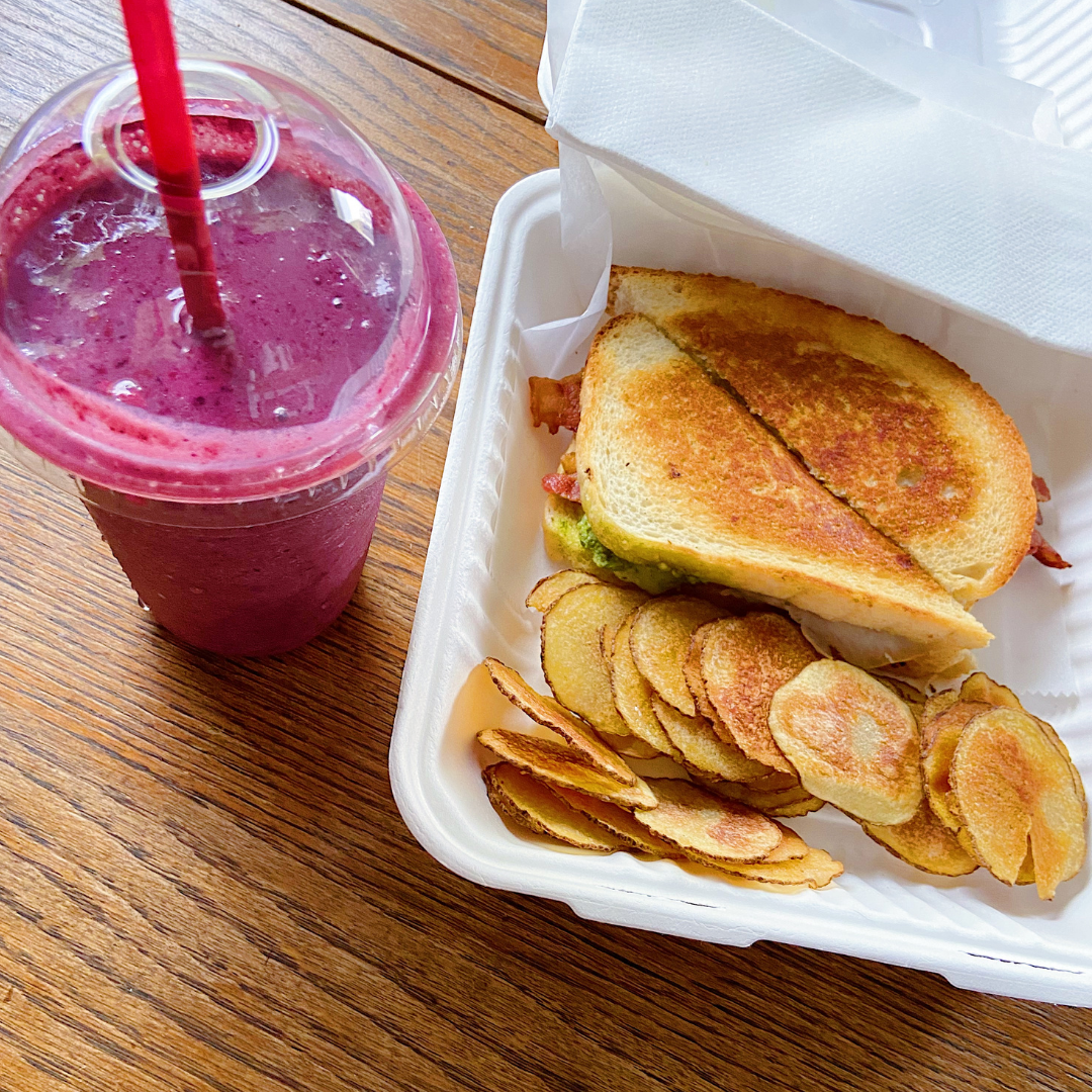 Pesto Melt with Bacon and Mixed Berry Smoothie from Lunch Box in Oshkosh